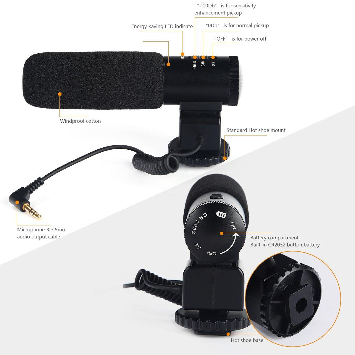 Micrófono, Profesional Micrófono de Grabación para Fotografía por solo 36,99€
