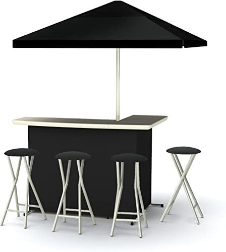 Best of Times Patio Bar and Tailgating Center Deluxe Package- Solid Black