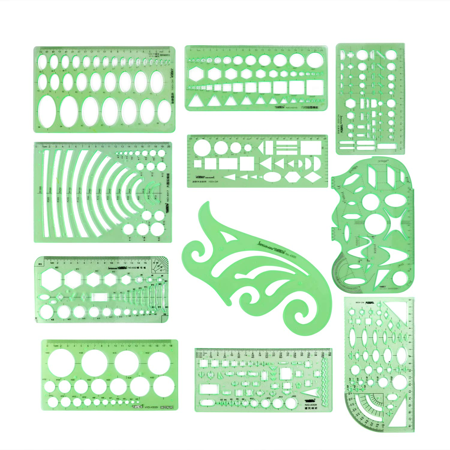 11pcs Drawing Template Ruler Stencils Tool Include Architectural Ruler,French Curve Template,Circle Template,Geometric Stencil Plastic Rule for School Studying and Office Design by Fatpig