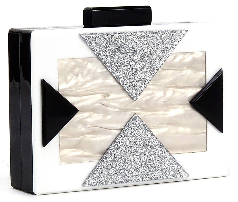 BG-713-09 Box Clutch Crossbody Chain Hard Case Purse Evening Bag - White