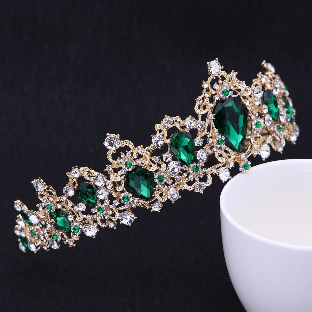 Royal Crystal Tiara Green Rhinestone Queen Tiara Wedding Crown Princess Hair Accessories for Women (Emerald Color)