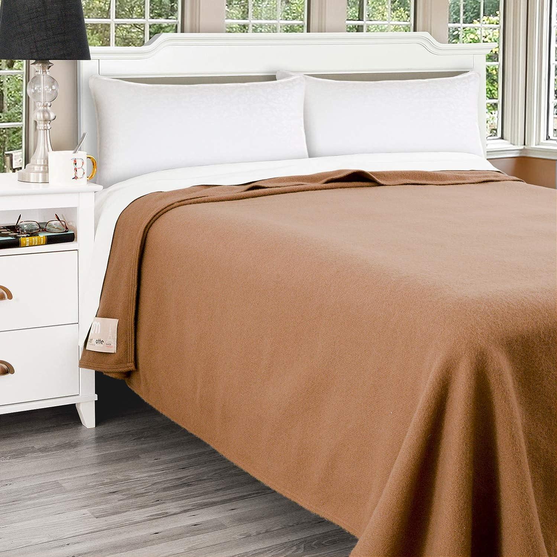 Poyet Motte Antibes 350GSM 100-Percent Wool Medium Weight Oversized Blanket, Machine Washable (Camel, Twin Size)