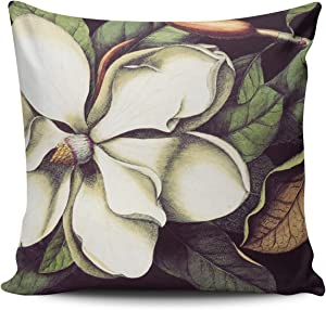 KAQIU Home Decoration Pillowcase Cover Green White Magnolia Floral Decorative Custom Pillow case Cushion Fashion Chic Double Sided Printed Design Square Size 18x18 Inch