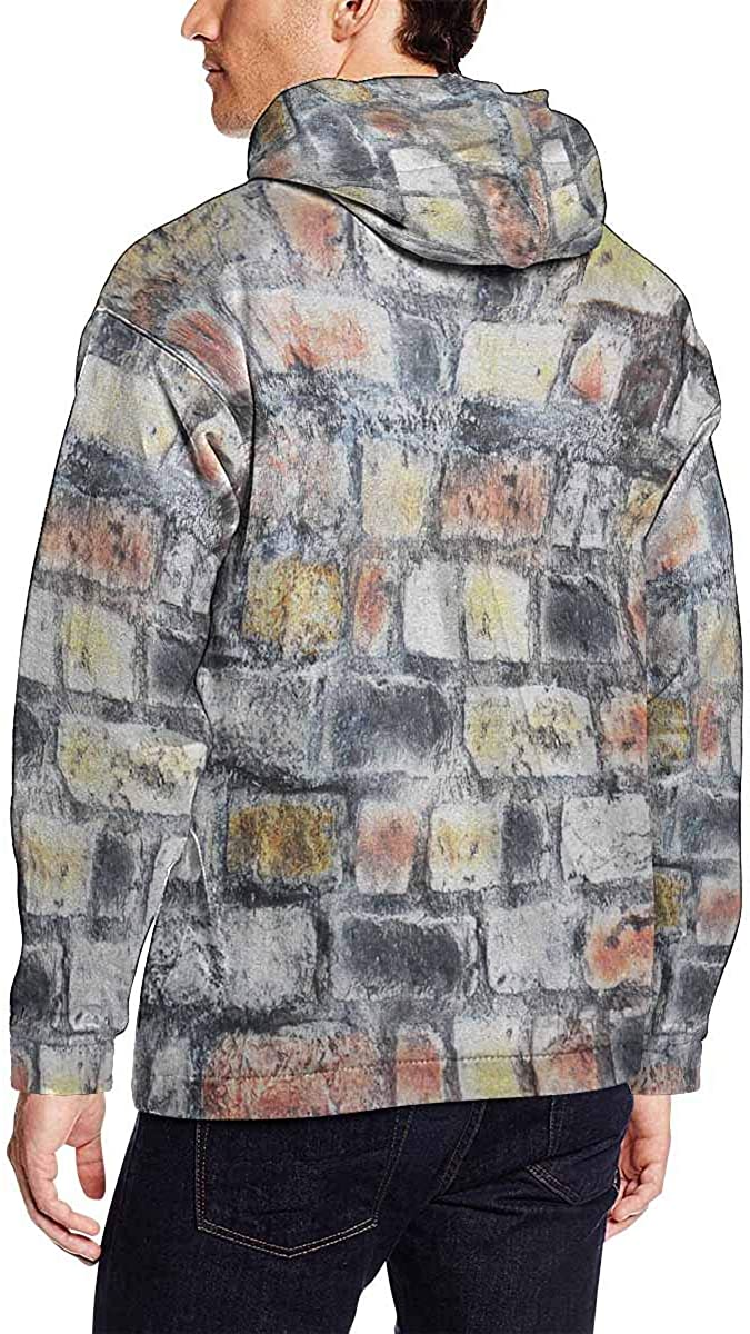 INTERESTPRINT Mens Brick Pattern Hooded Sweatshirt