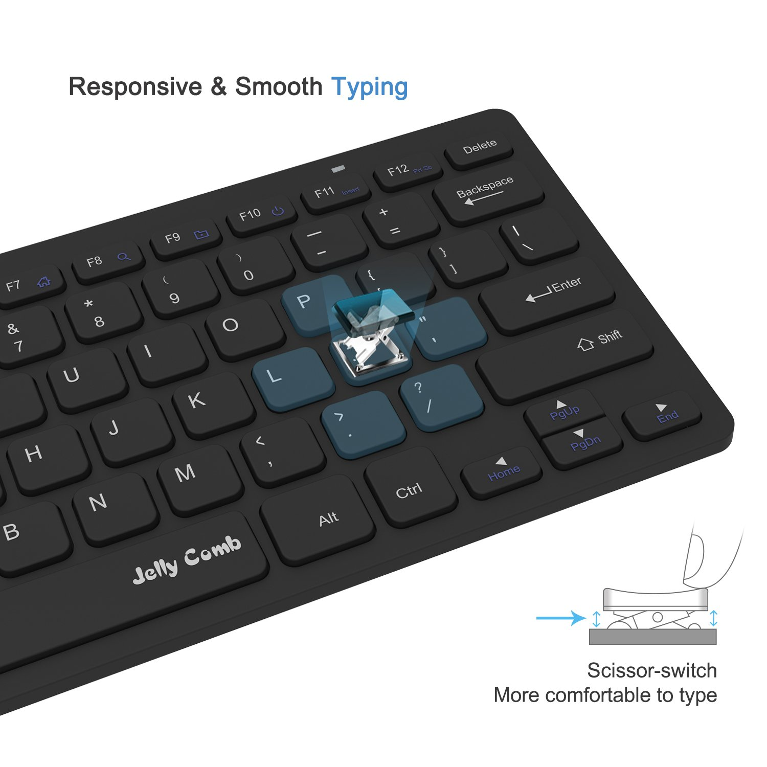 Wireless Keyboard Mouse, Jelly Comb 2.4GHz Ultra Thin Compact Portable SMALL Wireless Keyboard and Mouse Combo Set for PC, Desktop, Computer, Notebook, Laptop, Windows XP/Vista / 7/8 / 10 - Black by Jelly Comb (Image #5)