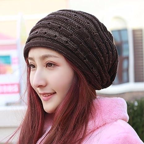 QIER-MZ Cappello da Donna di Grandi Dimensioni Cappello di Lana Gancio cap  di Fiori 736876856495