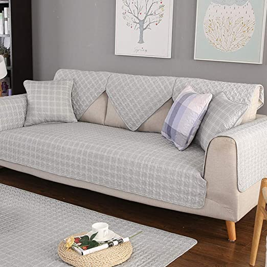ABUKJM Fundas Sofas 3 Plazas,Cojín de sofá de Tela de algodón Pastoral Funda de sofá Antideslizante Simple Cuatro Estaciones se aplican @ Palabra de Retorno Gray_110 * 240cm(1PCS): Amazon.es: Hogar