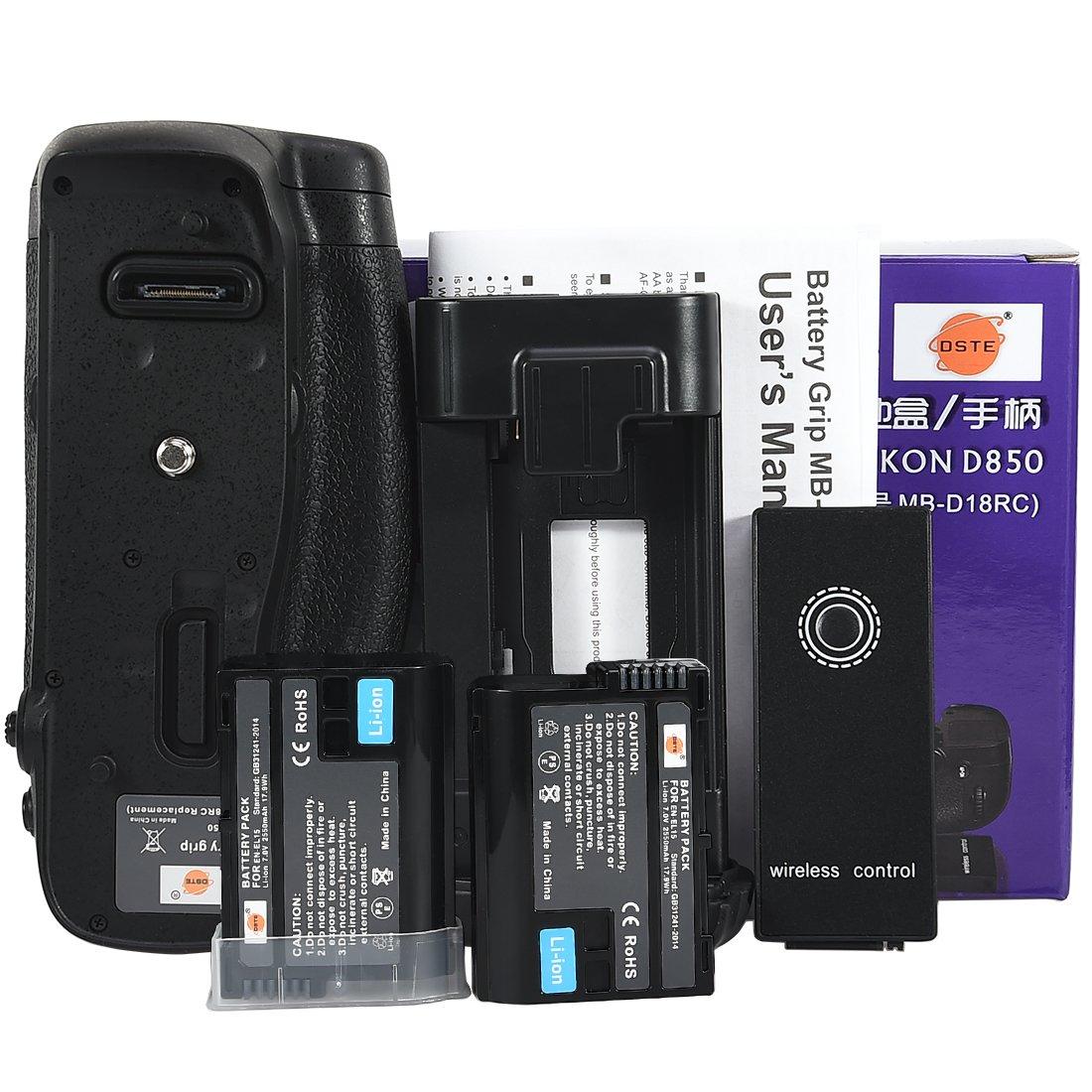 2/x EN-EL15/Bater/ía para Nikon D850/Digital SLR C/ámara DSTE mb-d18/empu/ñadura de bater/ía con funci/ón de control remoto por infrarrojos
