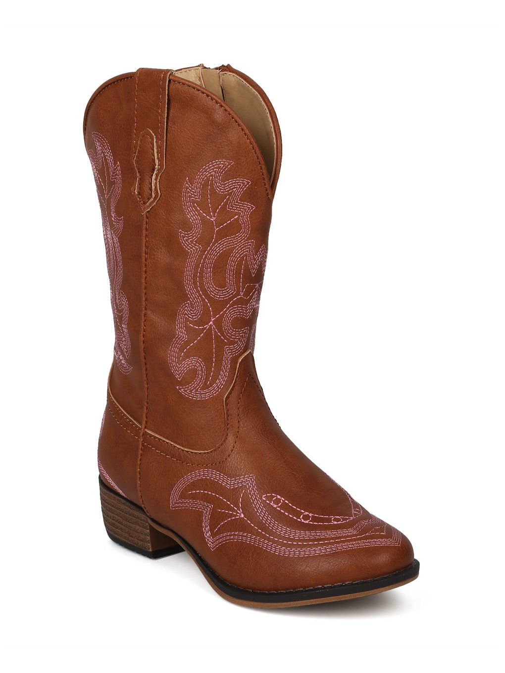 Alrisco Girls Leatherette Embroidered Tall Cowboy Boot HG02 - Tan Leatherette (Size: Little Kid 1) by Alrisco (Image #5)