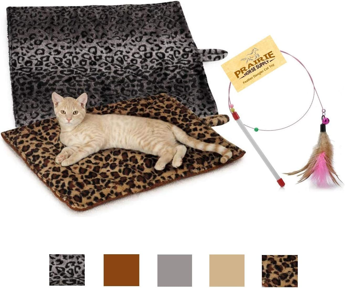 Quality Thermal Cat Mat and Free Cat Toy (Assorted Colors) (1, 2, 3, or 4 Mats) Cozy Self Heating Warming Kitty Kitten Puppy Small Dog Bed, Reversible Washable Pad, No Electricity