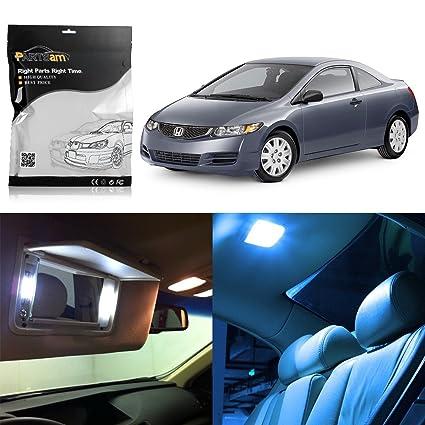 Partsam 2006 2012 Honda Civic Coupe Sedan Ice Blue Interior LED Lights  Package Kit +