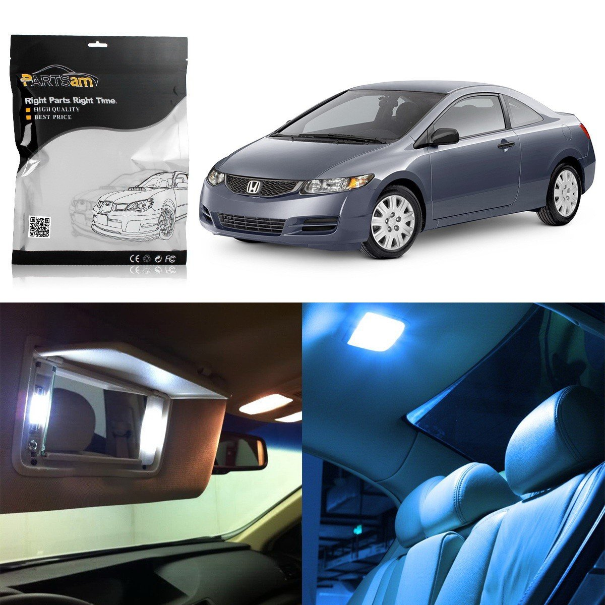 Partsam 2006-2012 Honda Civic Coupe Sedan Ice Blue Interior LED Lights Package Kit + Gift Tool (6 Pieces)