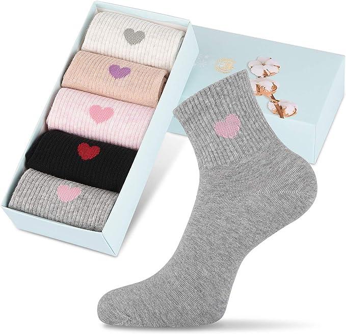 5x Women Men Socks Casual Work Heart-shaped Cotton W9X6 Fashion Love Comfor Q7P5