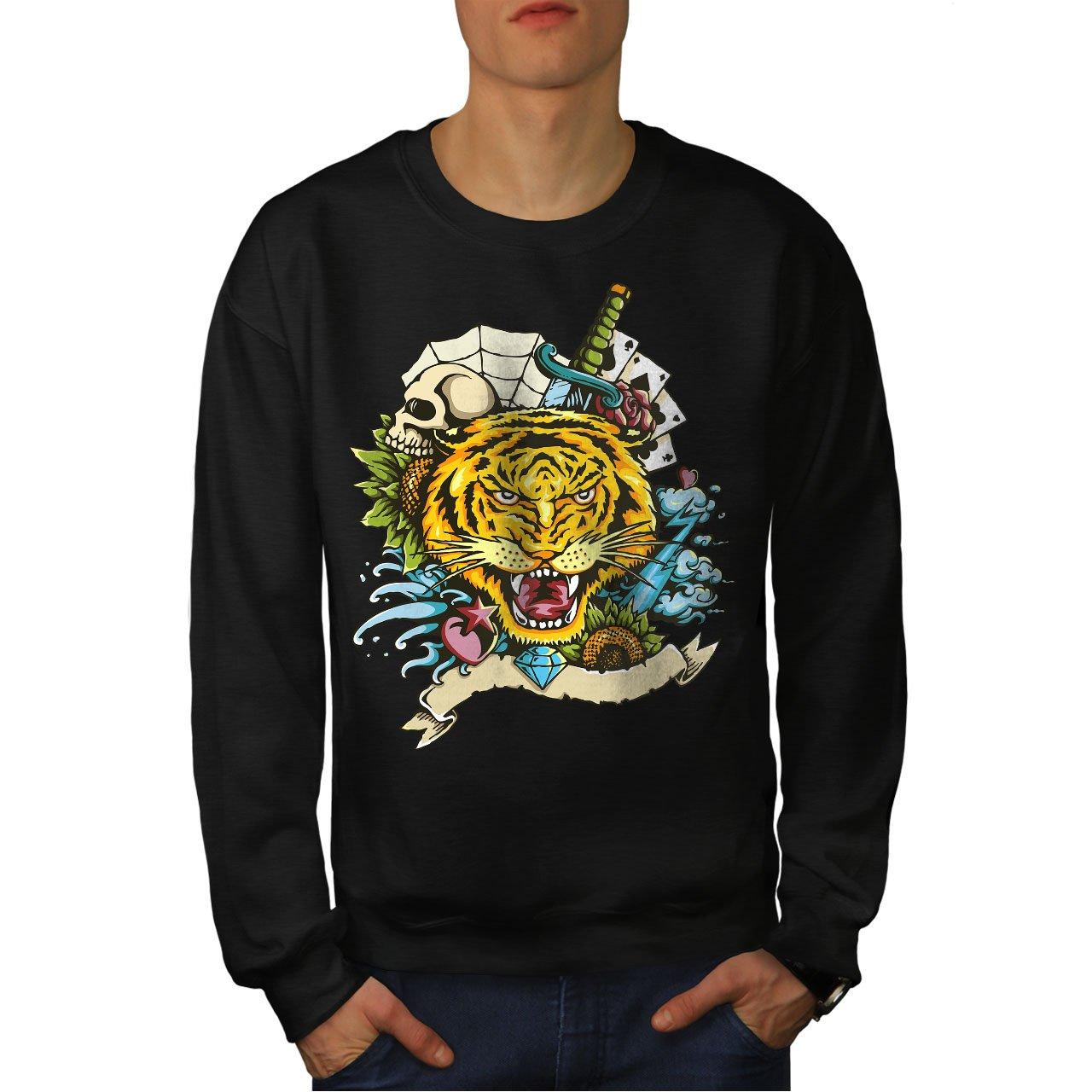 wellcoda Tiger Face Mens Sweatshirt Cartoon Animal Casual Jumper