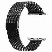 top4cus para Correa de Apple Watch, Electrochapeado Doble Milanese Aro Reemplazo de Acero Inoxidable iWatch Pulsera con Cerradura magnética para Apple Watch (Negro, 38mm Longitud Regular)