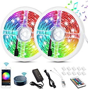 Litake Smart WiFi LED Strip Lights 32.8 ft, App Phone Controlled LED Light Strips Compatible with Alexa Google Home,Music Sound Activated LED Lights for Christmas Bedroom Party Decor