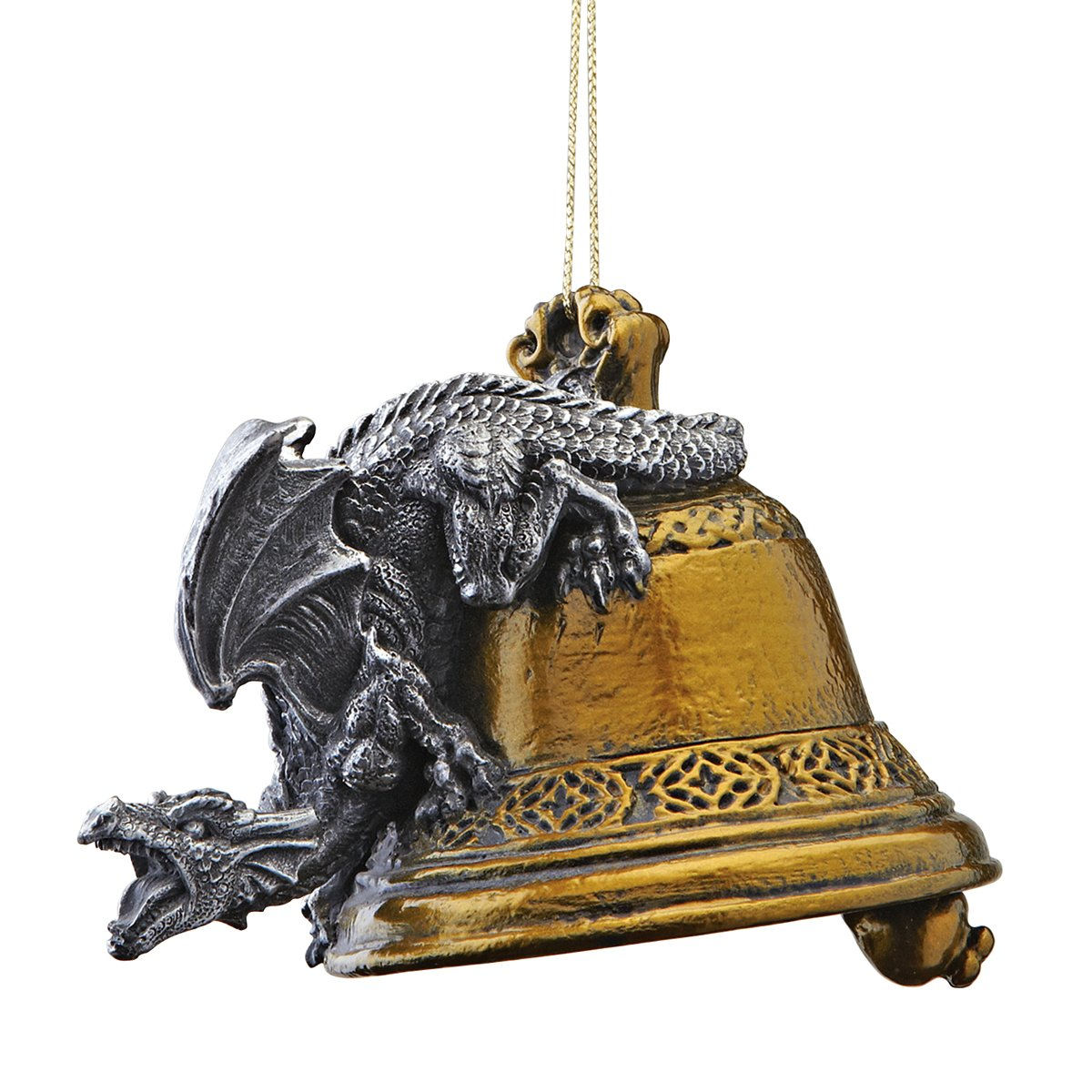 Design Toscano Christmas Tree Ornaments - Humdinger the Bell Ringer Gothic Dragon Holiday Ornament - Dragon Statue - Christmas Decorations