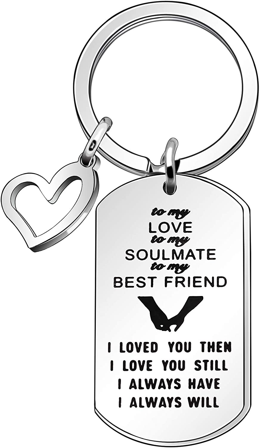 Couple Gift,Silver Keychain Keyring Key Chain Ring For Girlfriend Boyfriend Wife Husband Gift