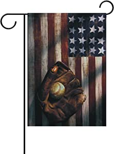 Hopes's American Flag Baseball Garden Flag Polyester Outdoor Flag Home Party 12x18 inch