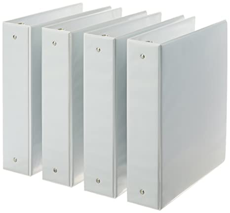amazon com amazonbasics 3 ring binder 2 inch 4 pack white