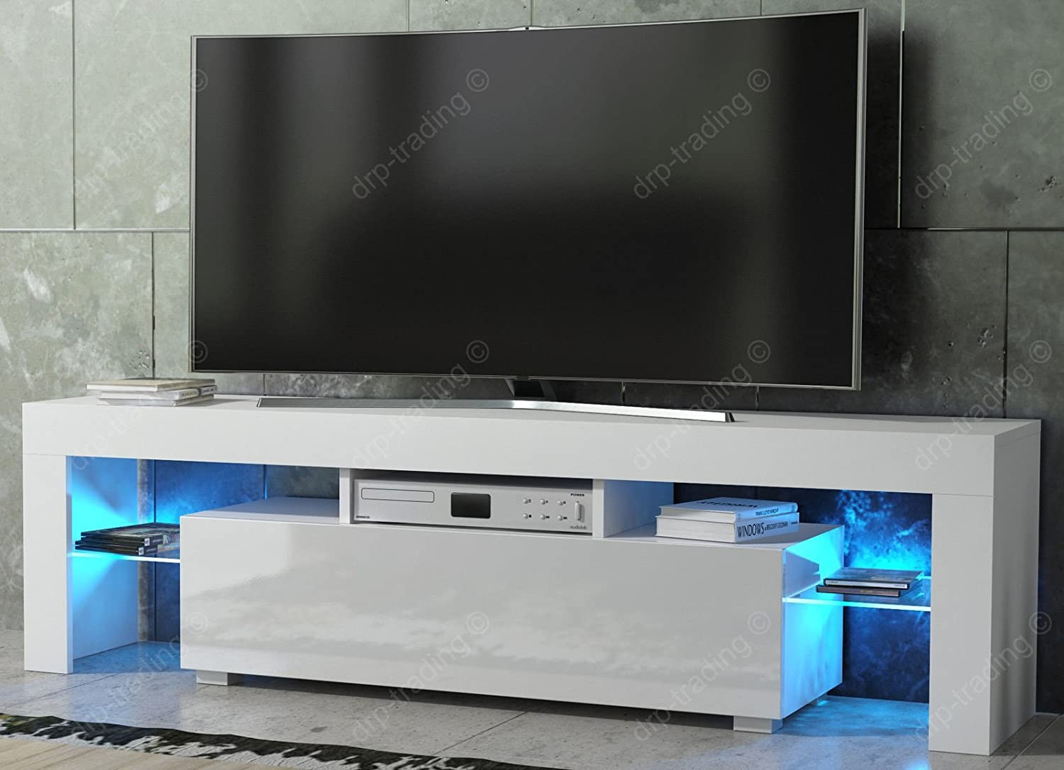 Genial Modern TV Unit 160cm Cabinet White Matt And White High Gloss FREE LED RGB  Lights: Amazon.co.uk: Kitchen U0026 Home