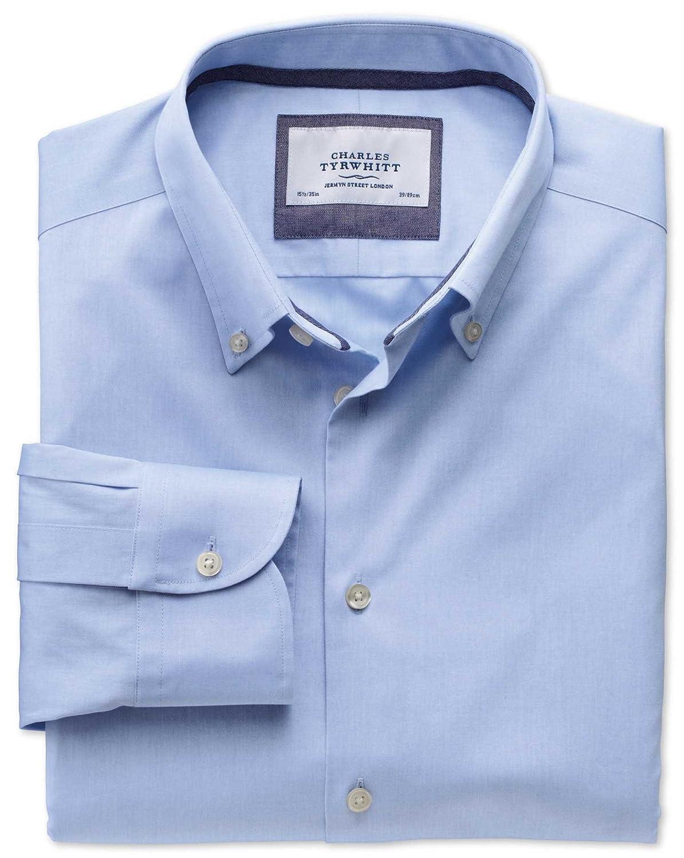 Charles Tyrwhitt Slim fit button-down collar non-iron business casual sky blue shirt