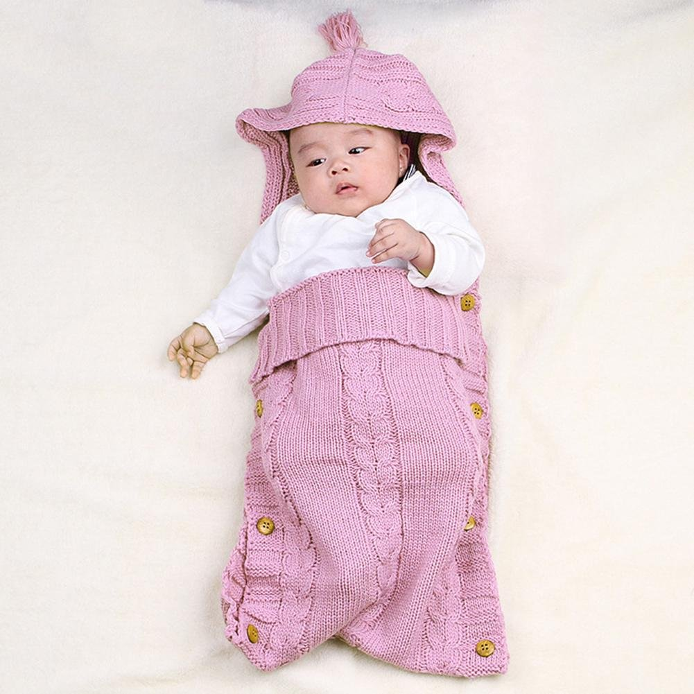 Everpert Wood Button Tassel Cap Sweater Infants Baby Wrap Blanket (Pink)