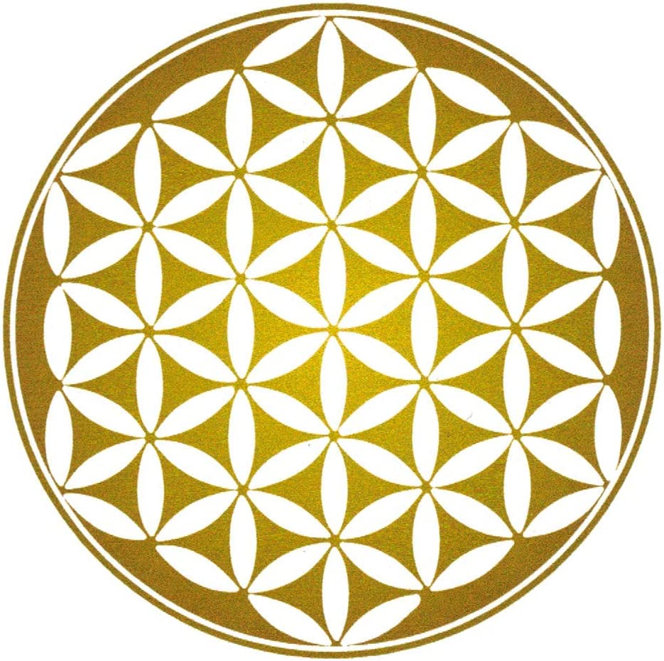 Custom Sticker Makers Golden Flower of Life Mandala Hippie Room Décor Small Car Bumper or Window Sticker Laptop Decal 3.5-by-3.5 Inches Round