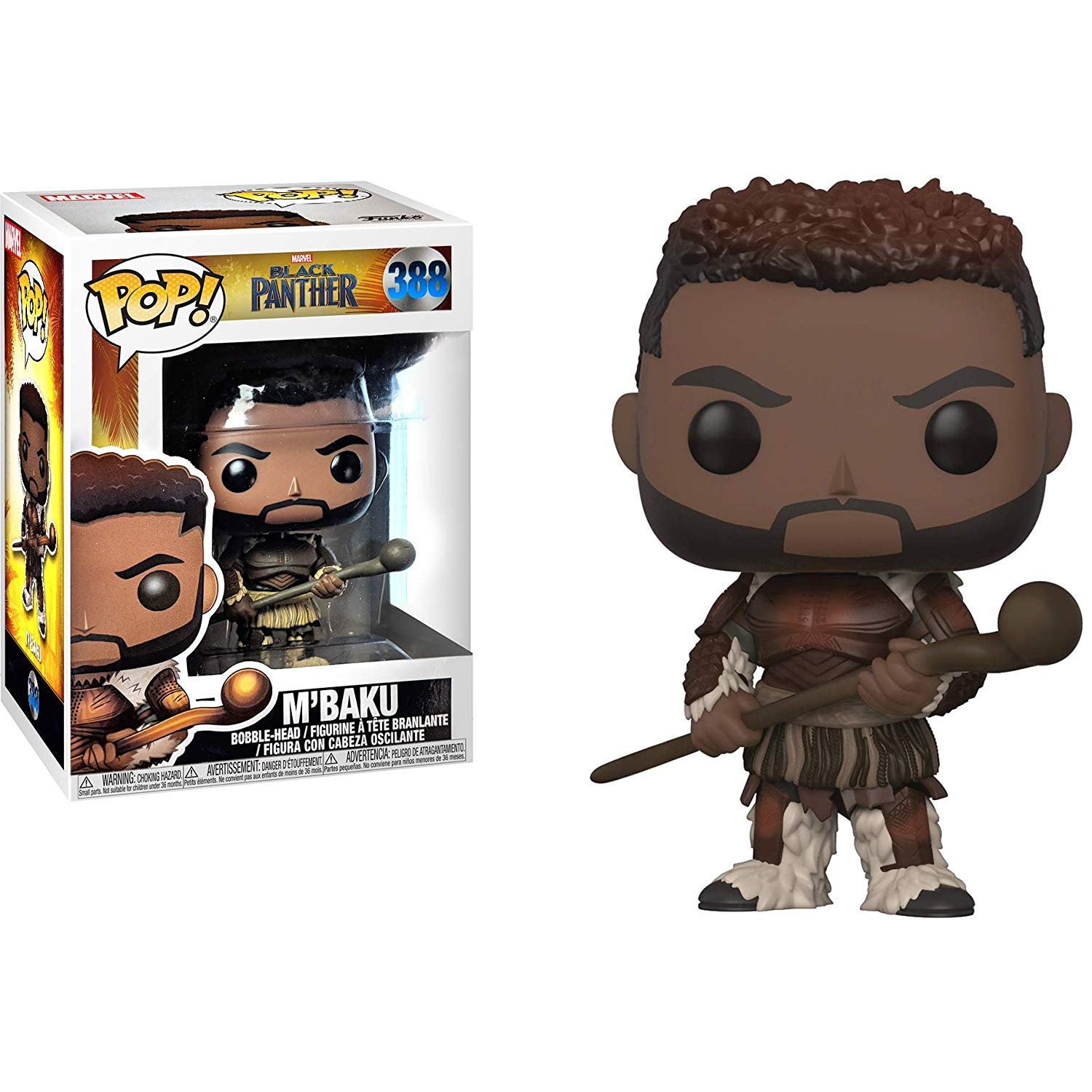 Funko Black Panther MBaku Pop Figure Bundle with Protector Case /& 1 Marvel Trading Card