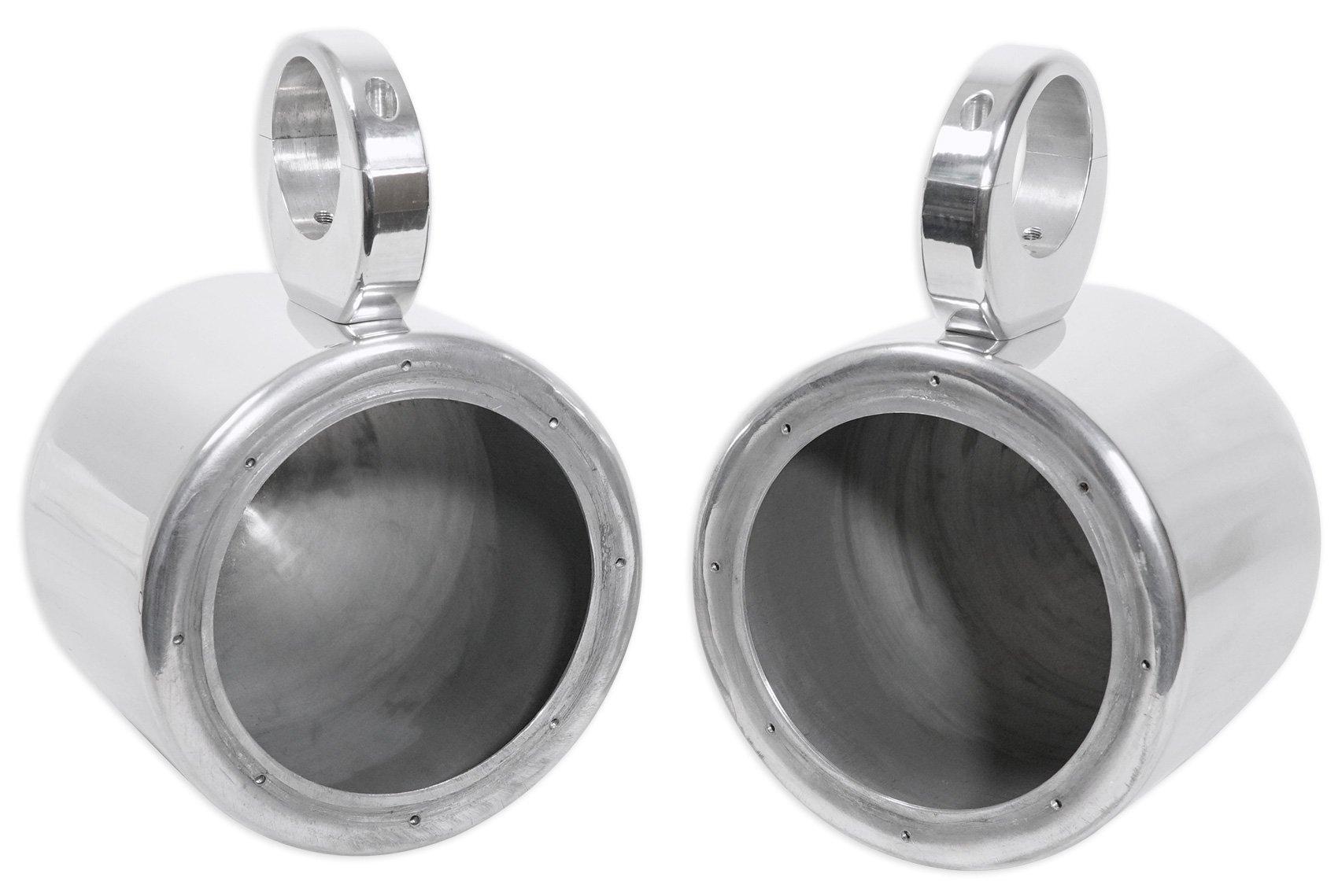 Pair Rockville MAC65S 6.5'' Polished Silver Aluminum Wakeboard Tower Speaker Enclosures