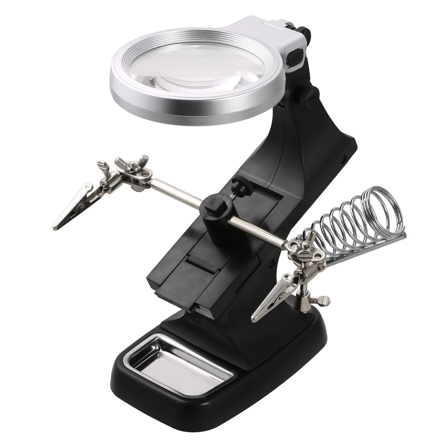 Kaluo 3 X 4.5X DeskTop Multifuncitional LED Light Magnifier Third Hand Workstation with Solder Holder Clamp and Alligator Clips for Workshop, Hand Soldering Help Repair Welding Hobby and Craft (Black)