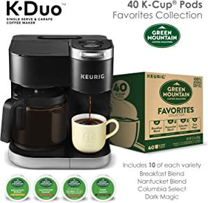 Keurig K-Duo Coffee Maker, Single Serve K-Cup Pod and 12 Cup Carafe Brewer, with Green Mountain Favorites Collection K-Cup Pods, 40 count