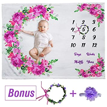 for Boy Includes Floral Wreath /& Headband for Girl for Baby Pictures | 100/% Organic Ultra Soft Fleece Baby Monthly Milestone Blanket