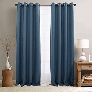 jinchan Room Darkening Curtains for Bedroom 84 inch Long Linen Like Textured Moderate Curtain in Denim Blue One Panel