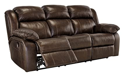 Ashley Furniture Signature Design   Branton Reclining Sofa   Leather Power  Recliner Couch   Contemporary Style