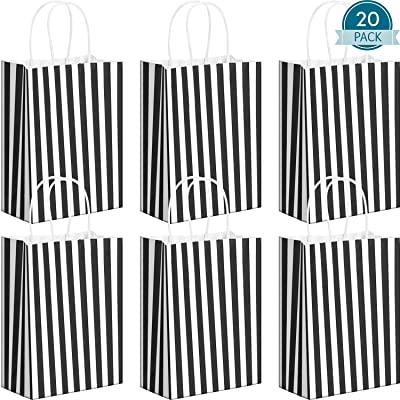 20 Pack Black Stripes Kraft Paper Bags Gift Bags with Handles Black Stripes Party Bag Shopping Bags for Christmas Birthday Party Cookie Candy Treat Favors: Toys & Games
