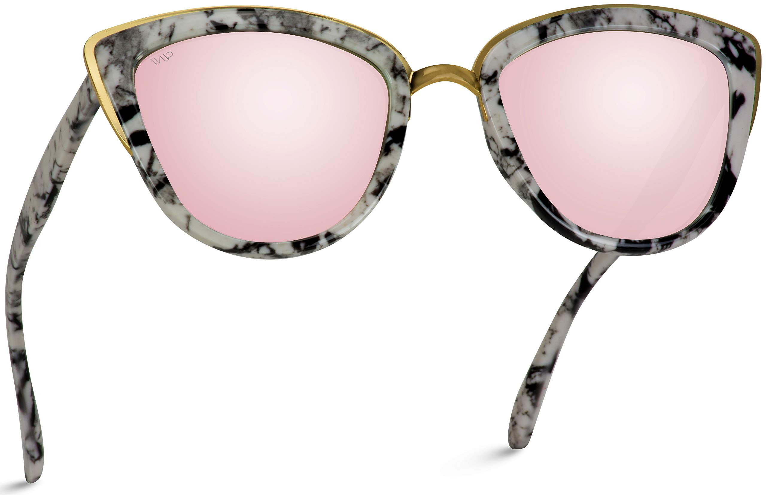 Womens Cat Eye Mirrored Reflective Lenses Oversized Cateyes Sunglasses (Marble White Frame/Mirror Pink Lens, 54) by WearMe Pro