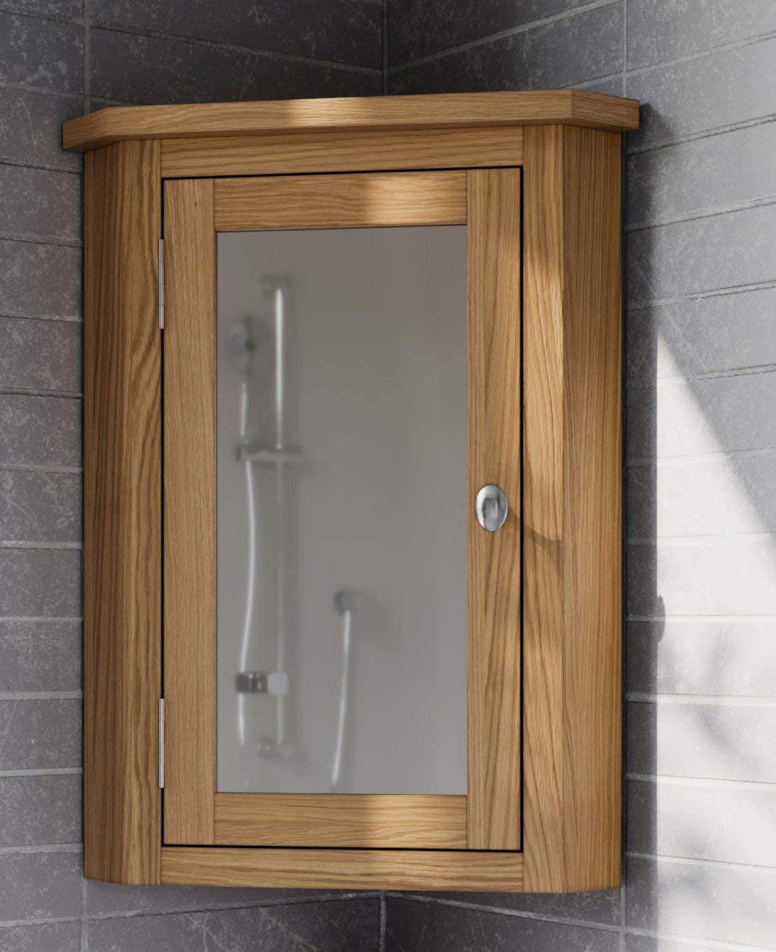 Hallowood Waverly Corner Bathroom Cabinet In Light Oak Finish Solid Wooden Wall Mounted Storage Mirror Cupboard Wav Bcab453 Amazon Co Uk Kitchen Home