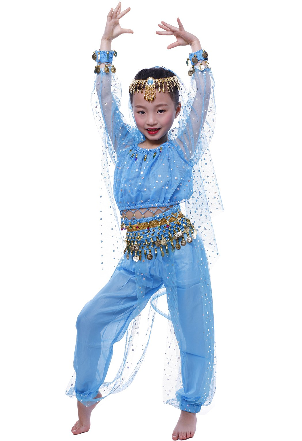 Astage Little Girl`S Belly Dance Costumes,Long sleeve Highlights Top,Pants Sky Blue (S fits Unders 47in)