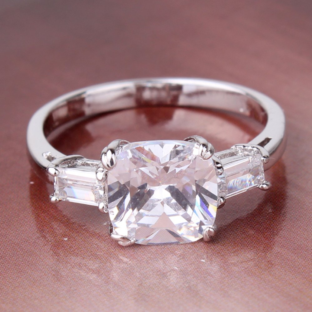 FT-Ring Fashion White Gold Plated Ring for Women Big Princess Cut White Jewelry Wedding Rings T/&T