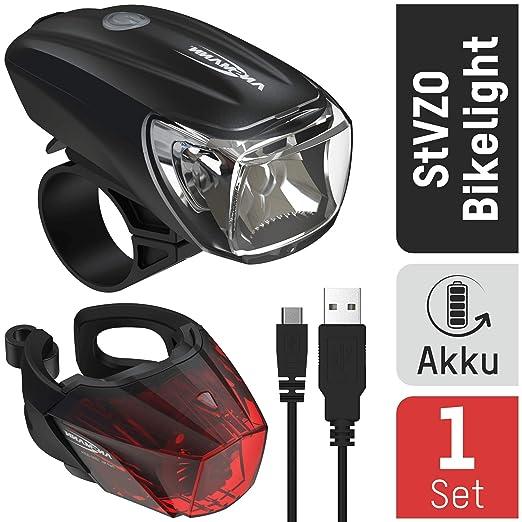 USB Fahrradlampe LED Fahrrad Licht Fahrradbeleuchtung Smart Scheinwerfer AKKU DE Radsport Fahrradzubehör