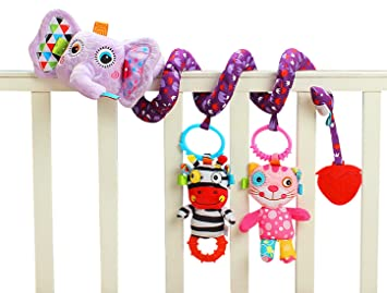Jollybaby - Juguetes Colgantes Espiral de Animales para Cuna Cochecito Carrito bebés Recien nacidos Peluche con Mordedor para niños niñas arrastrar ...