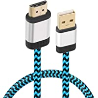 USB to HDMI Cable, Yeebline [Aluminum Shell, Nylon Braided] 0.5m USB 2.0 Male to HDMI Male Charger Cord Splitter Adapter Gold Plated