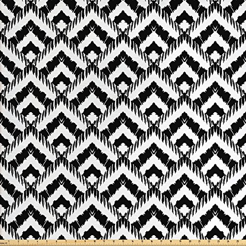 - Ambesonne Black and White Fabric by The Yard, Hand Drawn Herringbone Lines Pattern Monochrome Geometric Arrangement, Decorative Fabric for Upholstery and Home Accents, Black White
