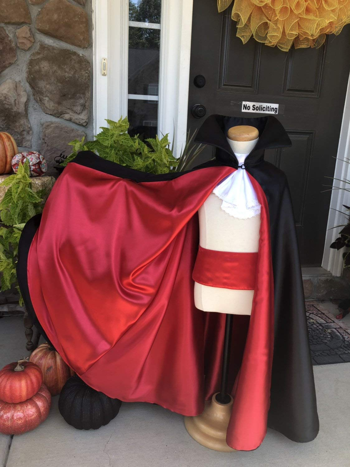"57/"" DRACULA//VAMPIRO lunga Cape Mantello da Uomo Halloween Fancy Dress P7879"
