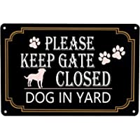 WOSTOD Please Keep Gate Closed Dogs in Yard Reto Vintage Metal Tin Signs Safety Warning Sign for Lawn Garden Yard Signs…