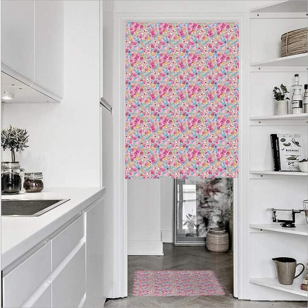 Cortinas de puerta de lino impreso en 3D con textura francesa de 1 panel y 1 alfombra de cocina, diseño de carpintero con dibujo de dibujos animados y abstractos, panel único para
