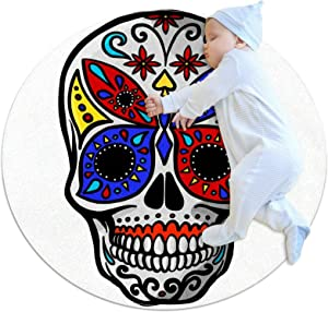 Area Rugs for Bedroom, Ultra-Luxurious Soft and Thick Non-Slip Carpet for Kids Baby Room, Nursery Modern Decor Rug 2.3Ft, Mexican Sugar Skull with Colorful Butte
