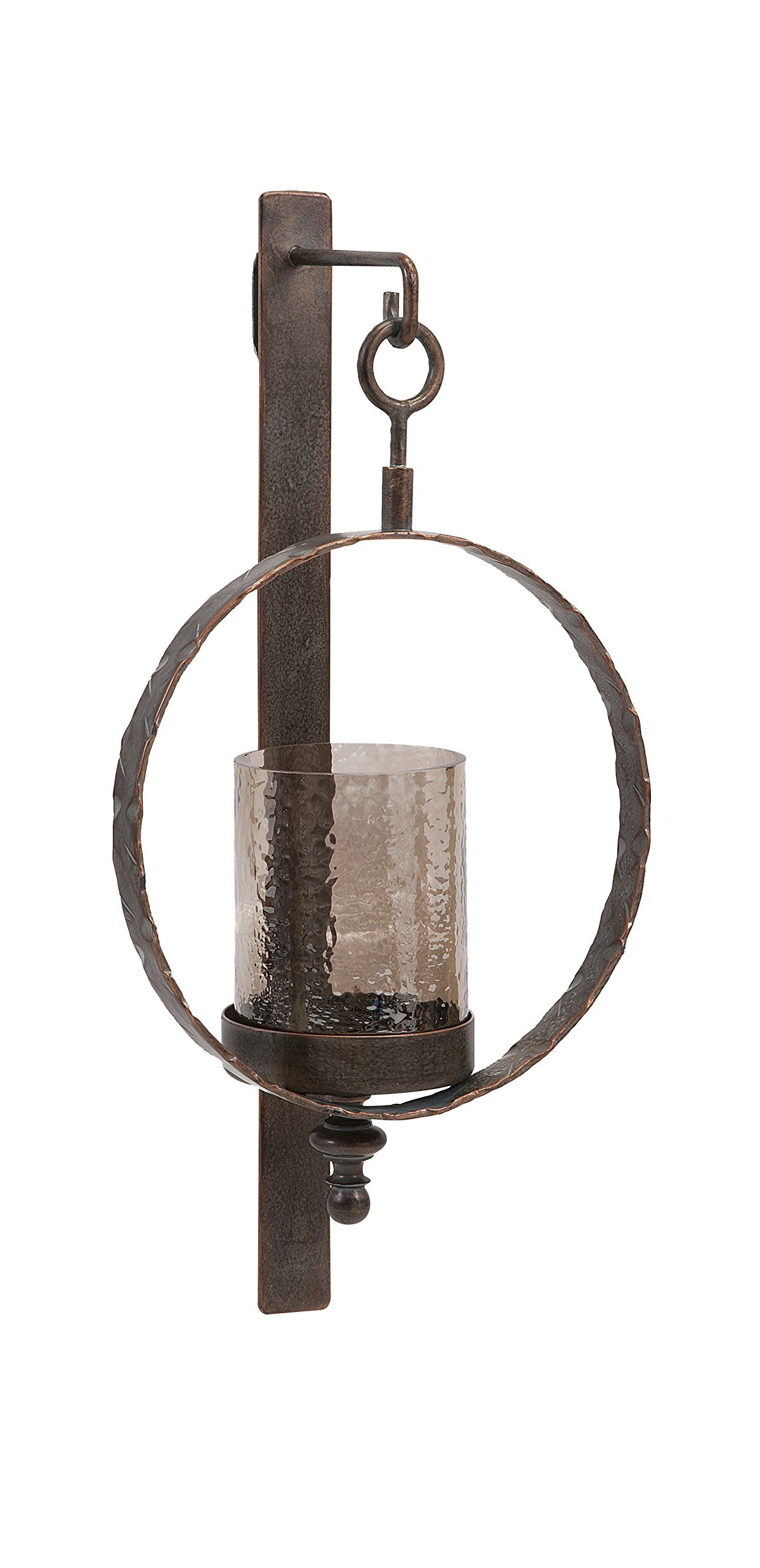 IMAX 20274 Circle Wall Sconce - Candle Holder for Home, Hotel, Reception Areas. Metal Wall Candle Sconce with Crackled Glass Hurricane. Decor Accessories