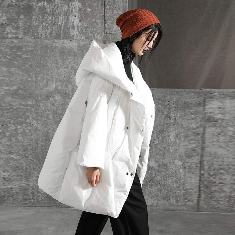 Fashion Regular Type Ladies Down Jacket Big Pocket Stitching Thickening 90/% White Duck Down Coat